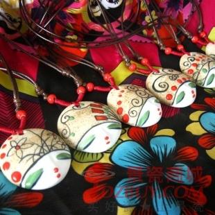 民族风陶瓷饰品 手绘美人脸系列 陶瓷项链 多款选择