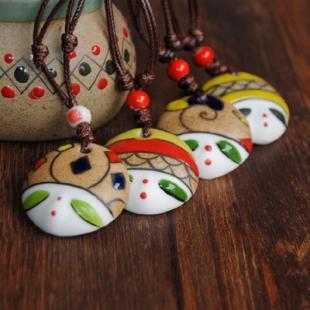 景瓷饰品厂家批发 民族风陶瓷饰品 手绘美人脸系列 陶瓷项链吊坠