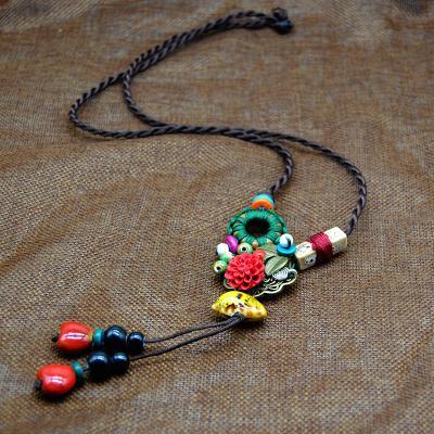陶瓷长款毛衣链民族风毛衣链