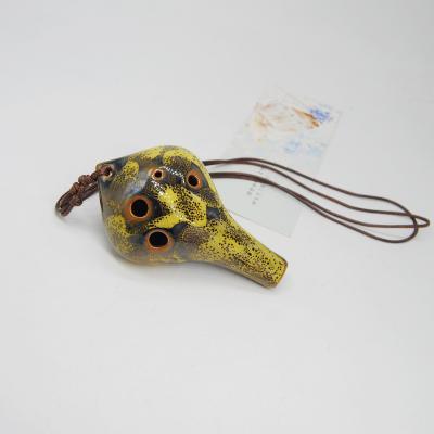 景瓷水滴款中号花釉黄陶笛TD014