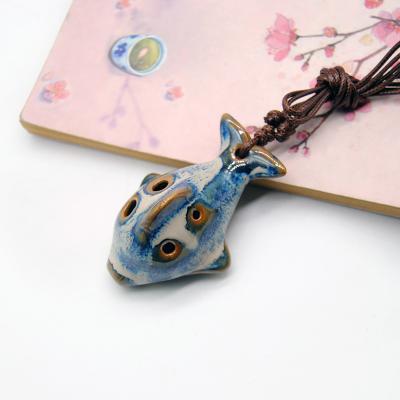 景瓷小鱼款陶笛窑变TD025